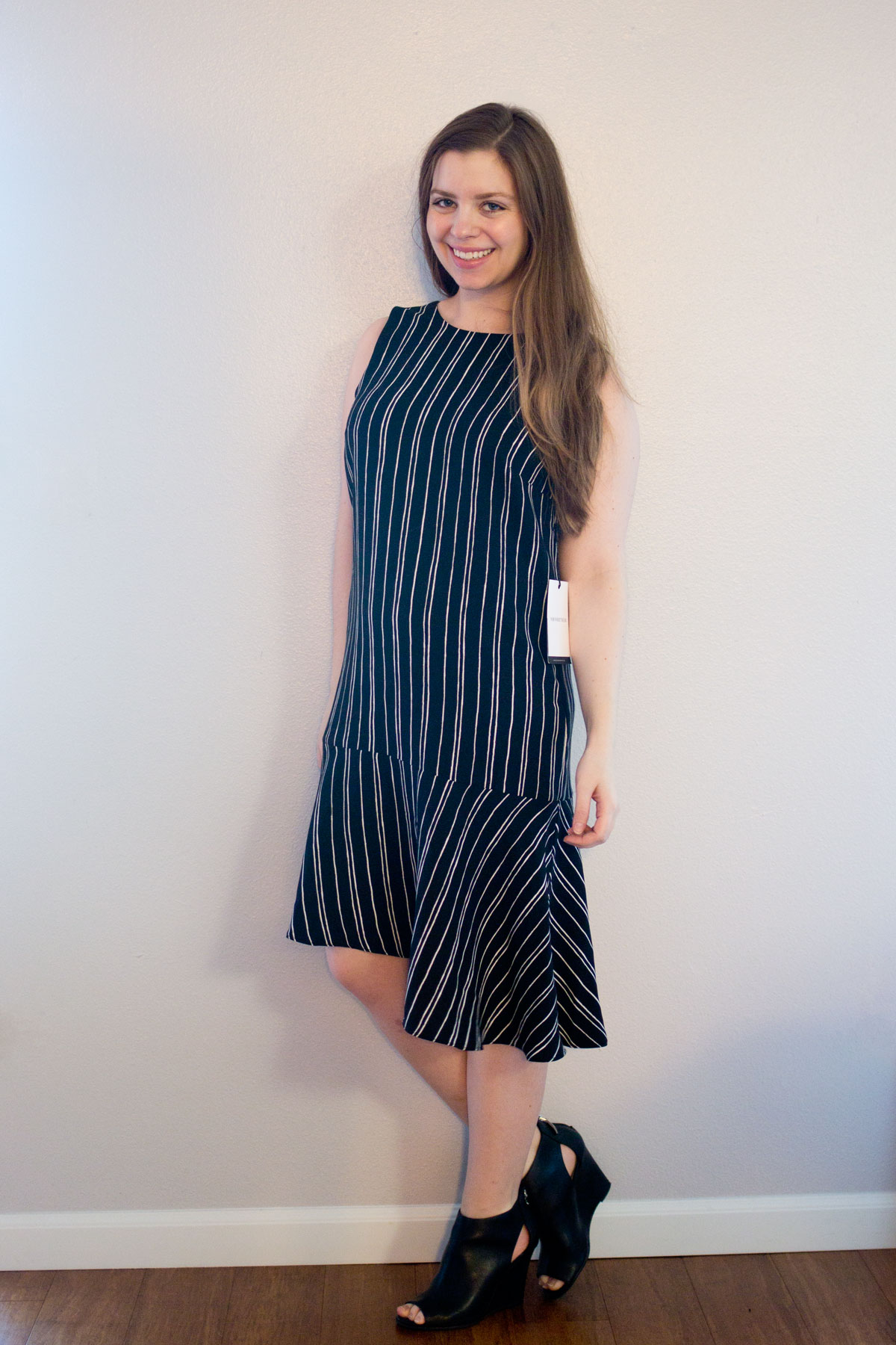 Target Who What Wear Sleeveless Fluted Shift Dress in Black White Stripe // Hello Rigby Seattle Fashion & Style Blog