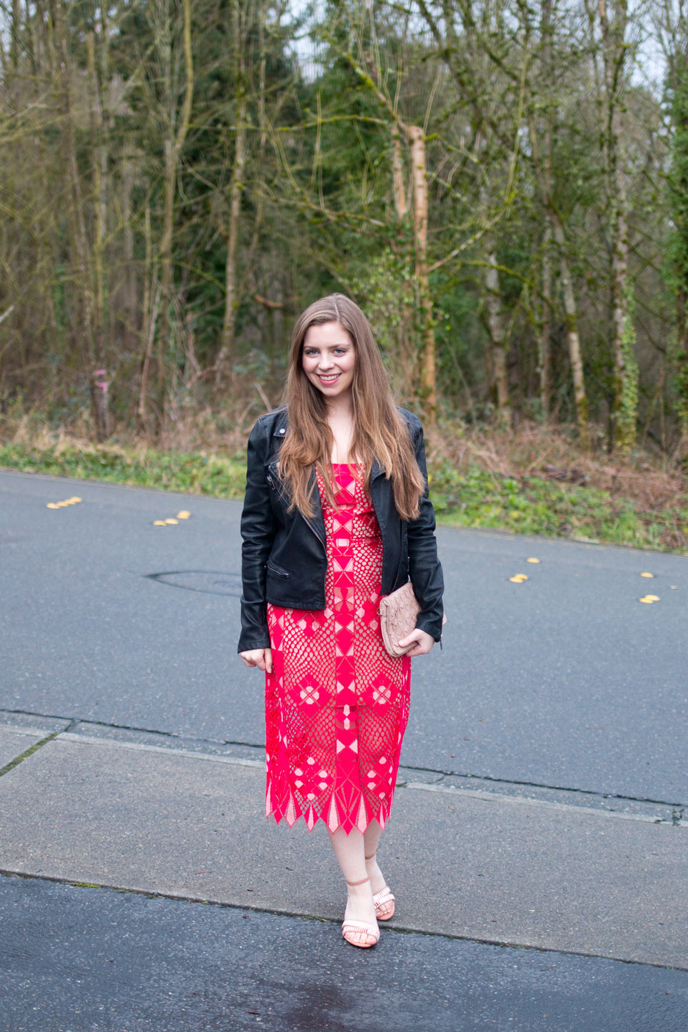 Date Night Outfit // Red Lace Dress with Leather Moto Jacket // Hello Rigby Seattle Fashion & Style Blog