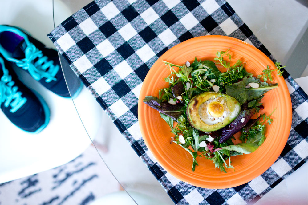 organicgirl PEPPERGREEN Salad with Avocado Baked Egg with salad love Pomegranate Balsamic Dressing // Hello Rigby Seattle Lifestyle Blog