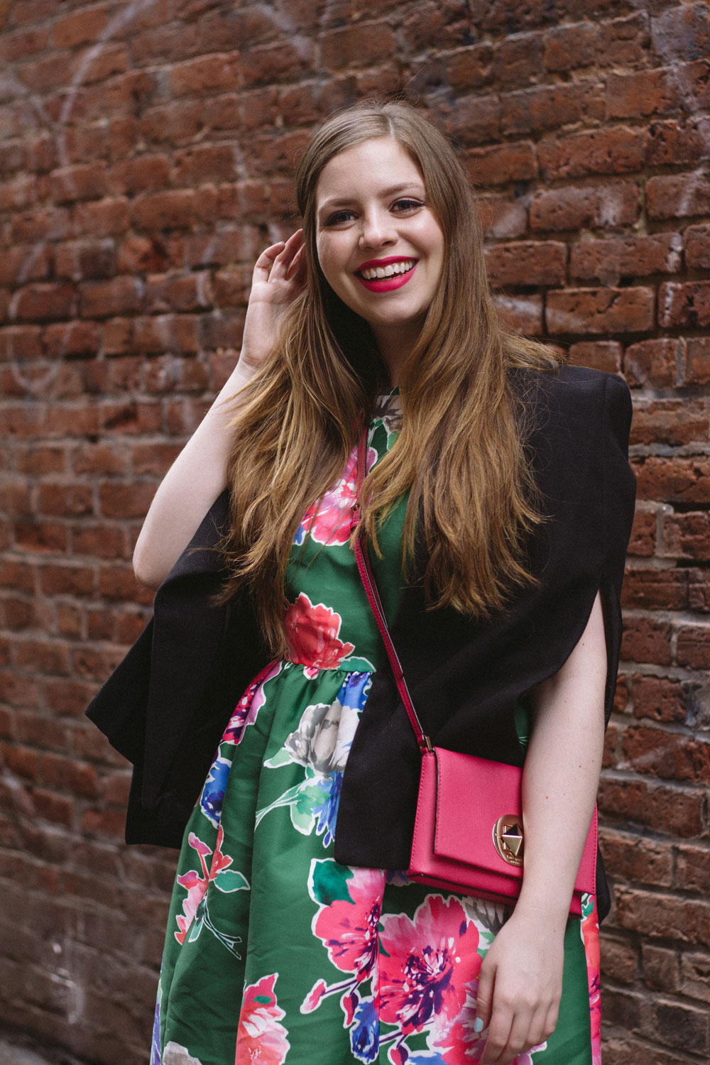 Spring Floral Dress with Cape & Pop of Bright Pink Outfit // Ways to Save at Outlet Malls // Hello Rigby Seattle Fashion & Style Blog