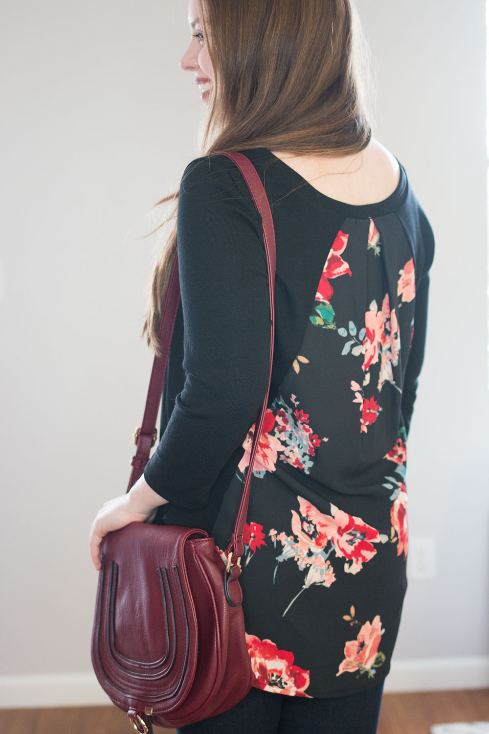 Stitch Fix March 2016 Review // Le Lis Floral Alante Woven Back Knit Top {Back View} // Hello Rigby Seattle Style & Fashion Blog