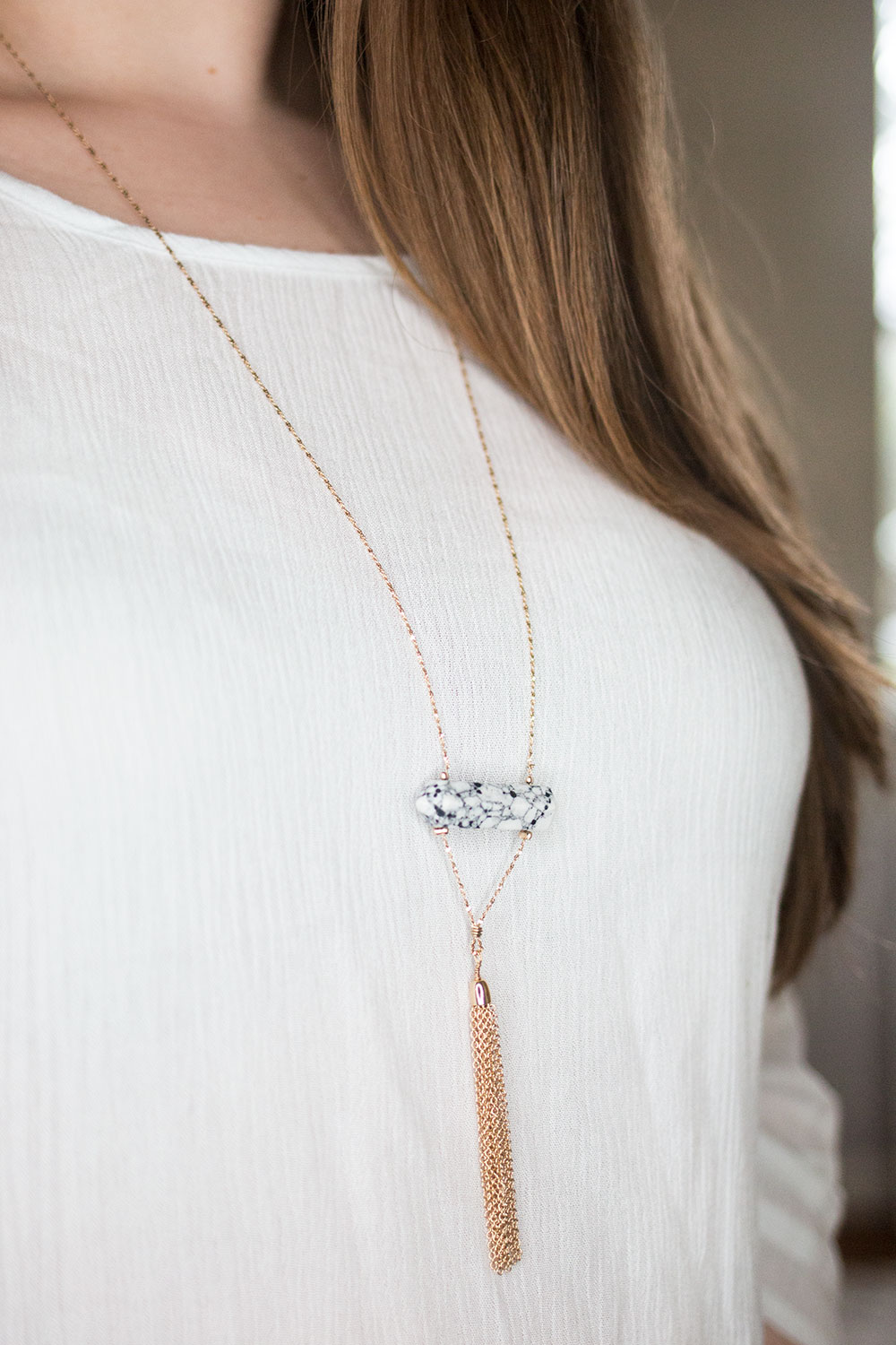 Stitch Fix March 2016 Review // Romolo Isaac Marble Stone Tassel Pendant Necklace // Hello Rigby Seattle Style & Fashion Blog