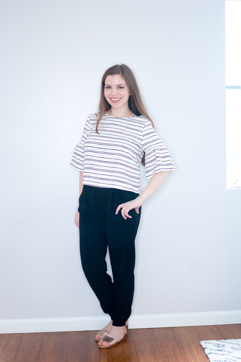 Target x Who What Wear Ruffle Sleeve Top in White/Black Stripe // Hello Rigby Seattle Fashion & Style Blog