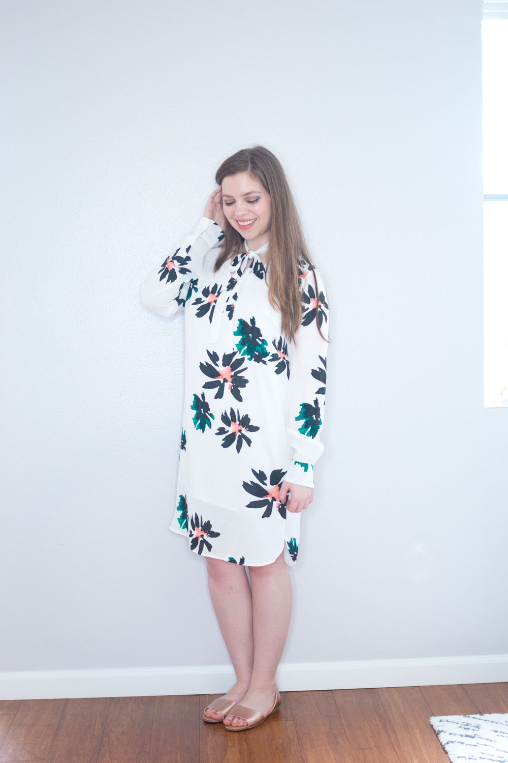 Target x Who What Wear Tie Neck Dress in White Floral // Hello Rigby Seattle Fashion & Style Blog