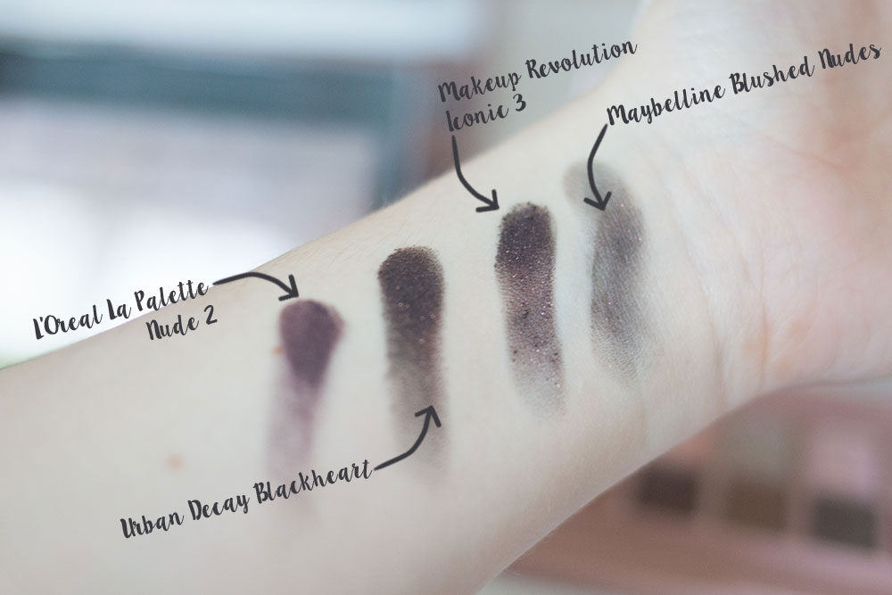 Urban Decay Naked 3 Blackheart Shadow Comparison vs Maybelline Blushed Nudes vs Makeup Revolution Iconic 3 vs L'Oreal La Palette 2 // Best & Worst of Beauty Dupes/Duds // Hello Rigby Seattle Beauty & Style Blog