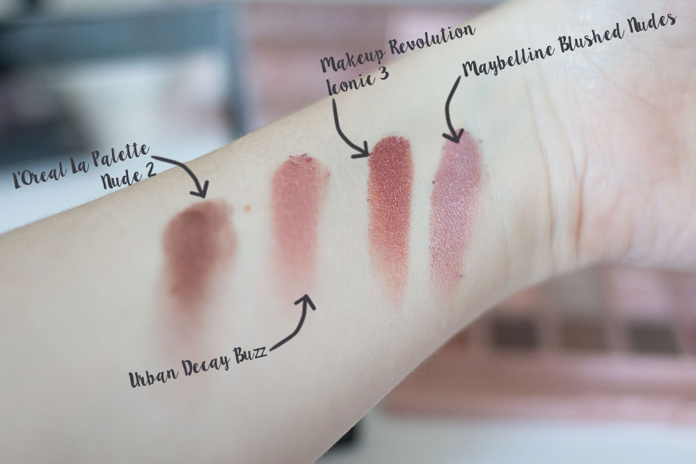 Urban Decay Naked 3 Buzz Shadow Comparison vs Maybelline Blushed Nudes vs Makeup Revolution Iconic 3 vs L'Oreal La Palette 2 // Best & Worst of Beauty Dupes/Duds // Hello Rigby Seattle Beauty & Style Blog