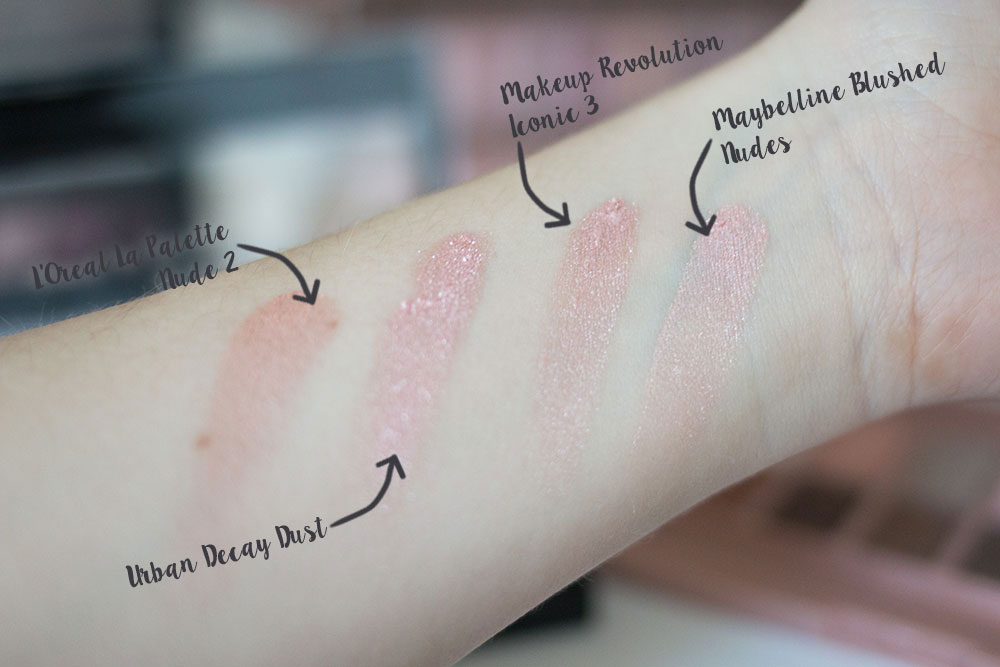 Urban Decay Naked 3 Dust Shadow Comparison vs Maybelline Blushed Nudes vs Makeup Revolution Iconic 3 vs L'Oreal La Palette 2 // Best & Worst of Beauty Dupes/Duds // Hello Rigby Seattle Beauty & Style Blog