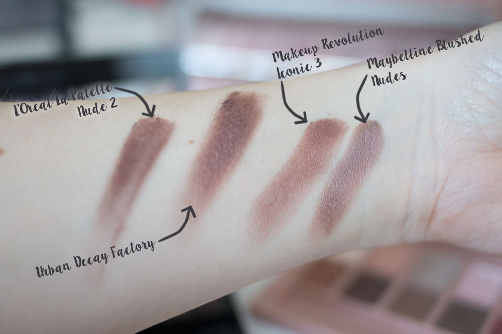 Urban Decay Naked 3 Factory Shadow Comparison vs Maybelline Blushed Nudes vs Makeup Revolution Iconic 3 vs L'Oreal La Palette 2 // Best & Worst of Beauty Dupes/Duds // Hello Rigby Seattle Beauty & Style Blog