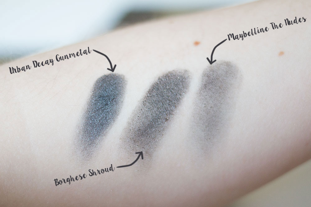 Urban Decay Naked Gunmetal Shadow Comparison vs Borghese Eclissare Collection Palette in Shroud vs Maybelline the Nudes // Best & Worst of Beauty Dupes/Duds // Hello Rigby Seattle Beauty & Style Blog