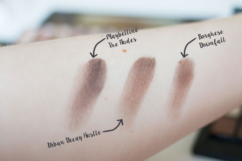 Urban Decay Naked Hustle Shadow vs Borghese Eclissare Downfall vs Maybelline The Nudes // Best & Worst of Beauty Dupes/Duds // Hello Rigby Seattle Beauty & Style Blog