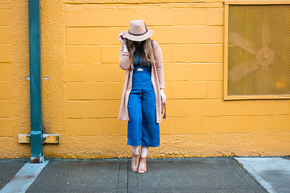 Culotte Jumpsuit Outfit with Camel Accessories // Hello Rigby Seattle Fashion & Style Blog