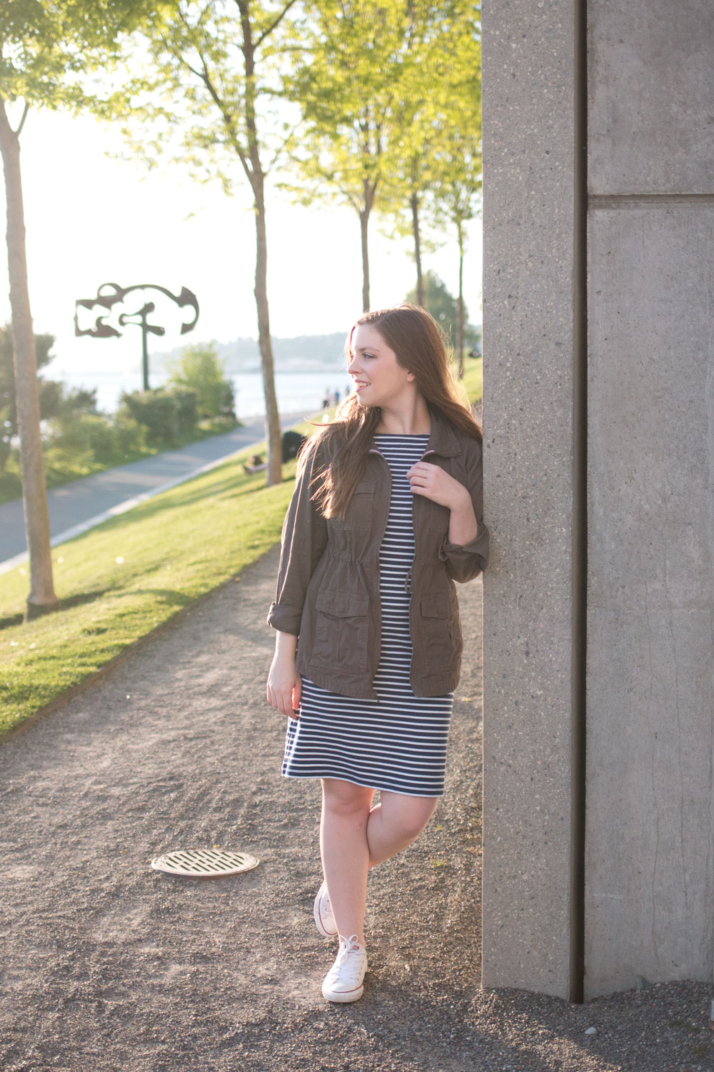 How to Wear a Striped Dress with Sneakers featuring Converse Low Tops // Hello Rigby Seattle Fashion & Style Blog