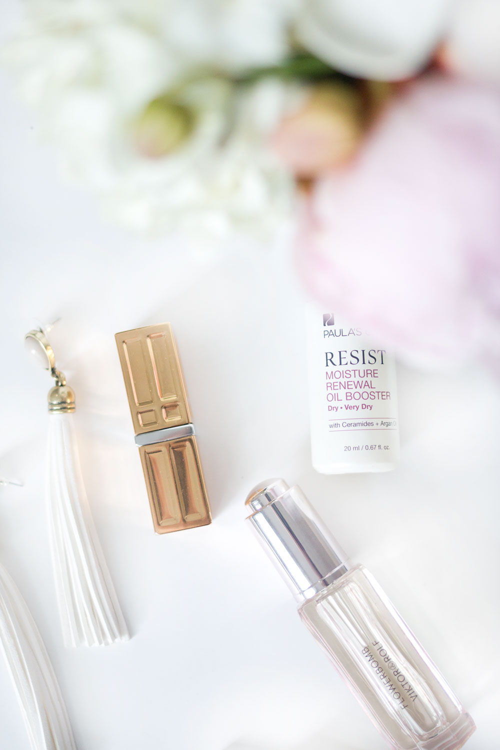 Spring Beauty Favorites: Elizabeth Arden Lipstick, Adia Kibur Stella Earrings, Viktor + Rolf Precious Oil, Paula's Choie Renewal Boosting Oil // Hello Rigby Seattle Fashion & Beauty Blog