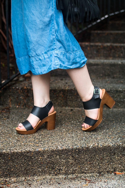 Denim Culottes with Block Heels // Hello Rigby Seattle Fashion Blog