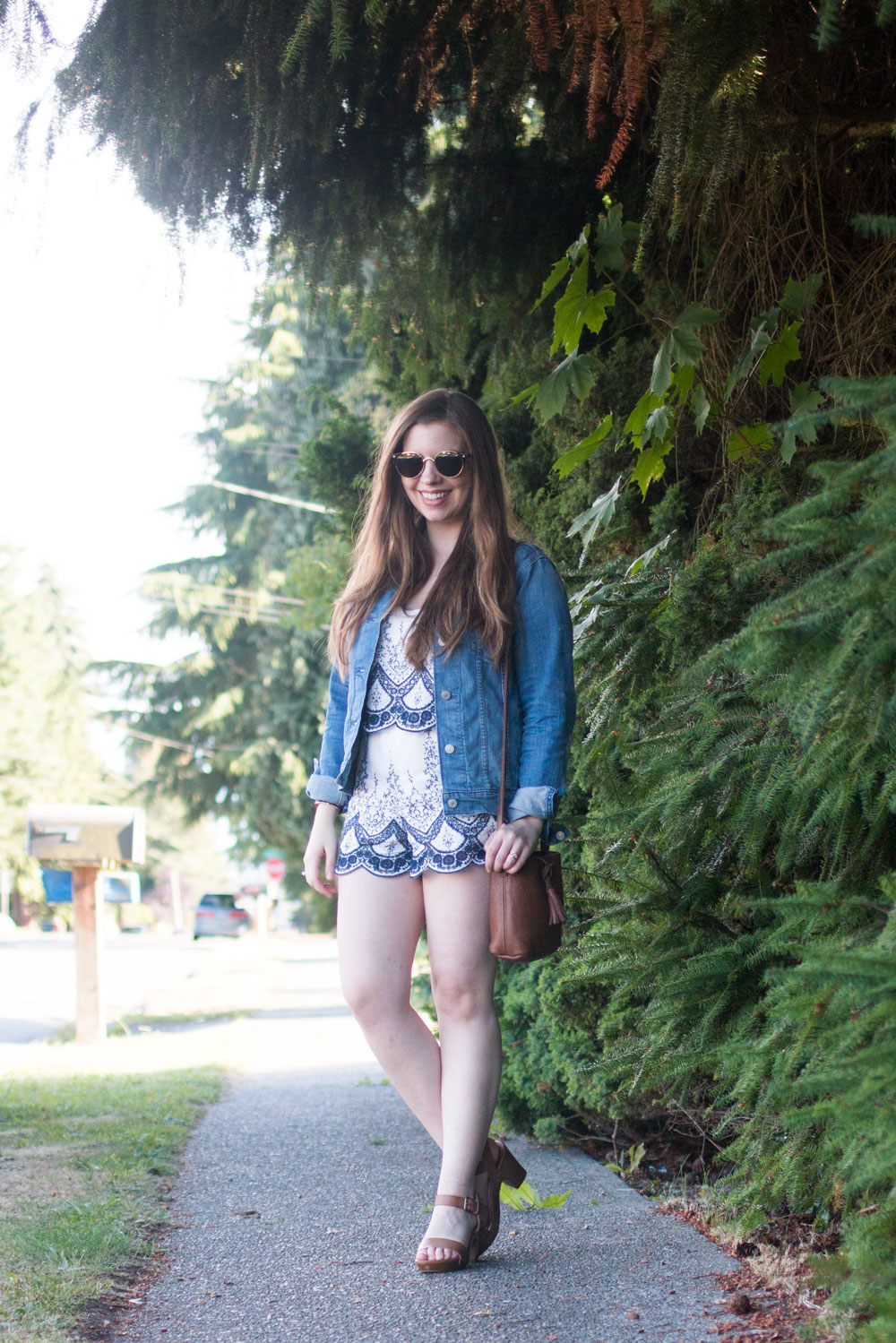 How to Wear a Romper with Denim Jacket // Hello Rigby Seattle Fashion Blog
