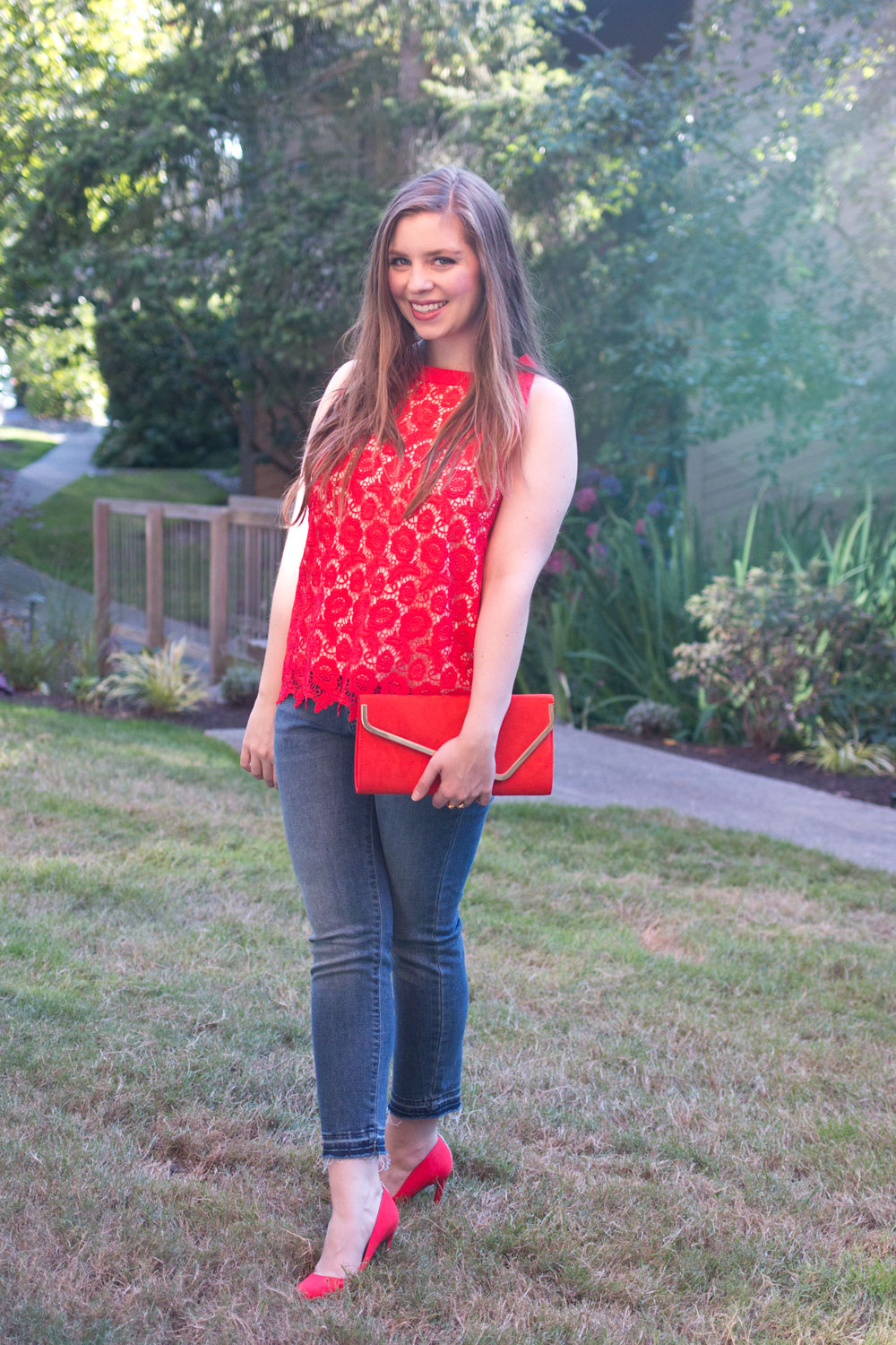 Stitch Fix August 2016 // Eden Society Remind Lace Overlay Blouse in Red // Hello Rigby Seattle Fashion Blog