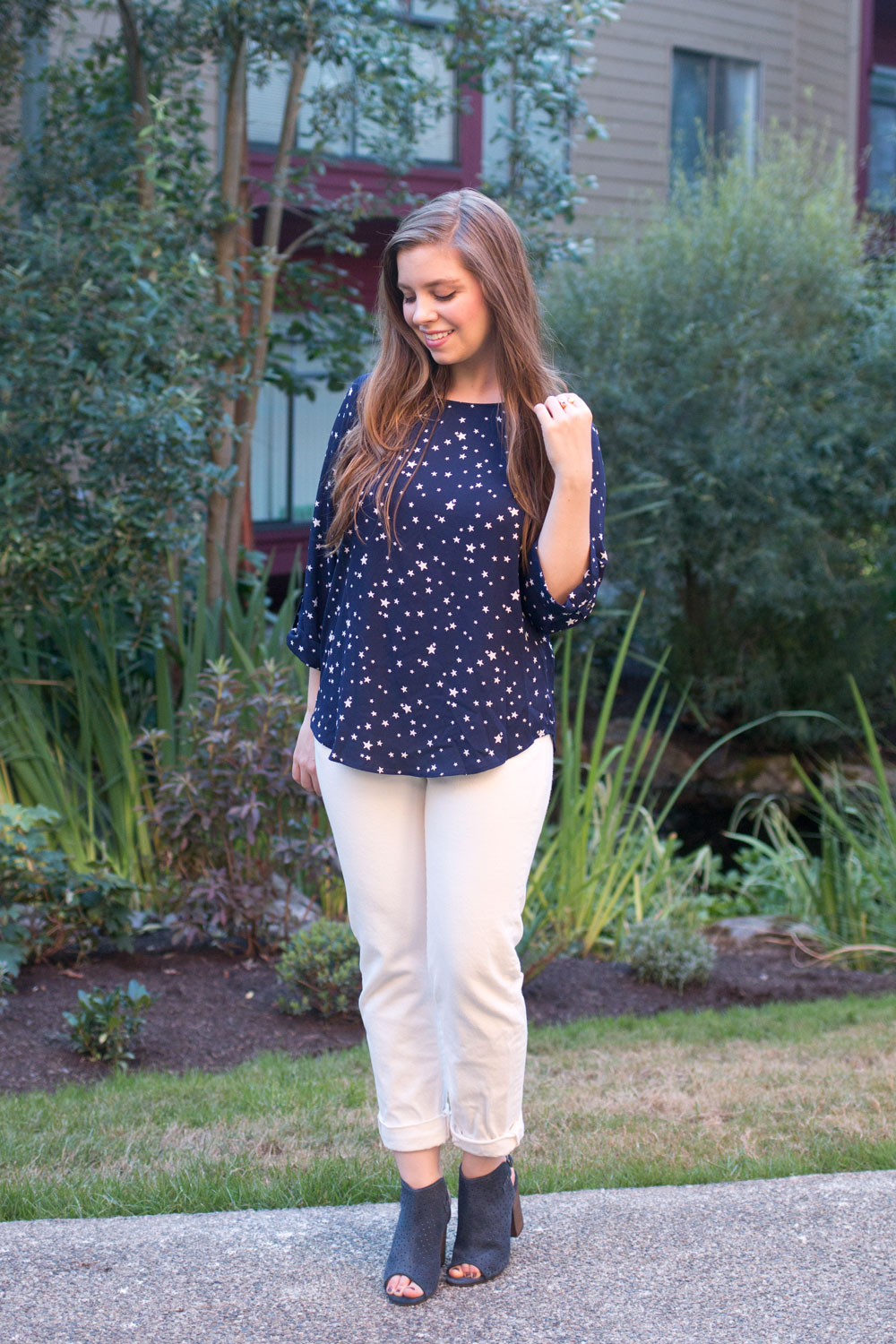 Stitch Fix August 2016 // Pixley Ellie Printed 3/4 Sleeve Blouse in Navy Stars // Hello Rigby Seattle Fashion Blog