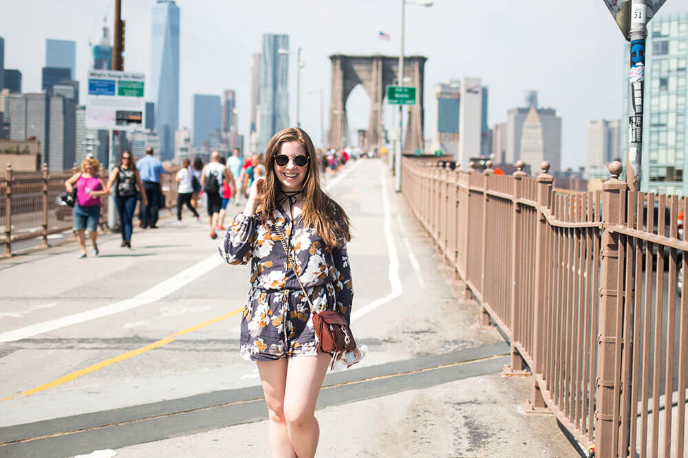 A Day in NYC: Romper Outfit at Brooklyn Bridge // Hello Rigby Seattle Fashion Blog
