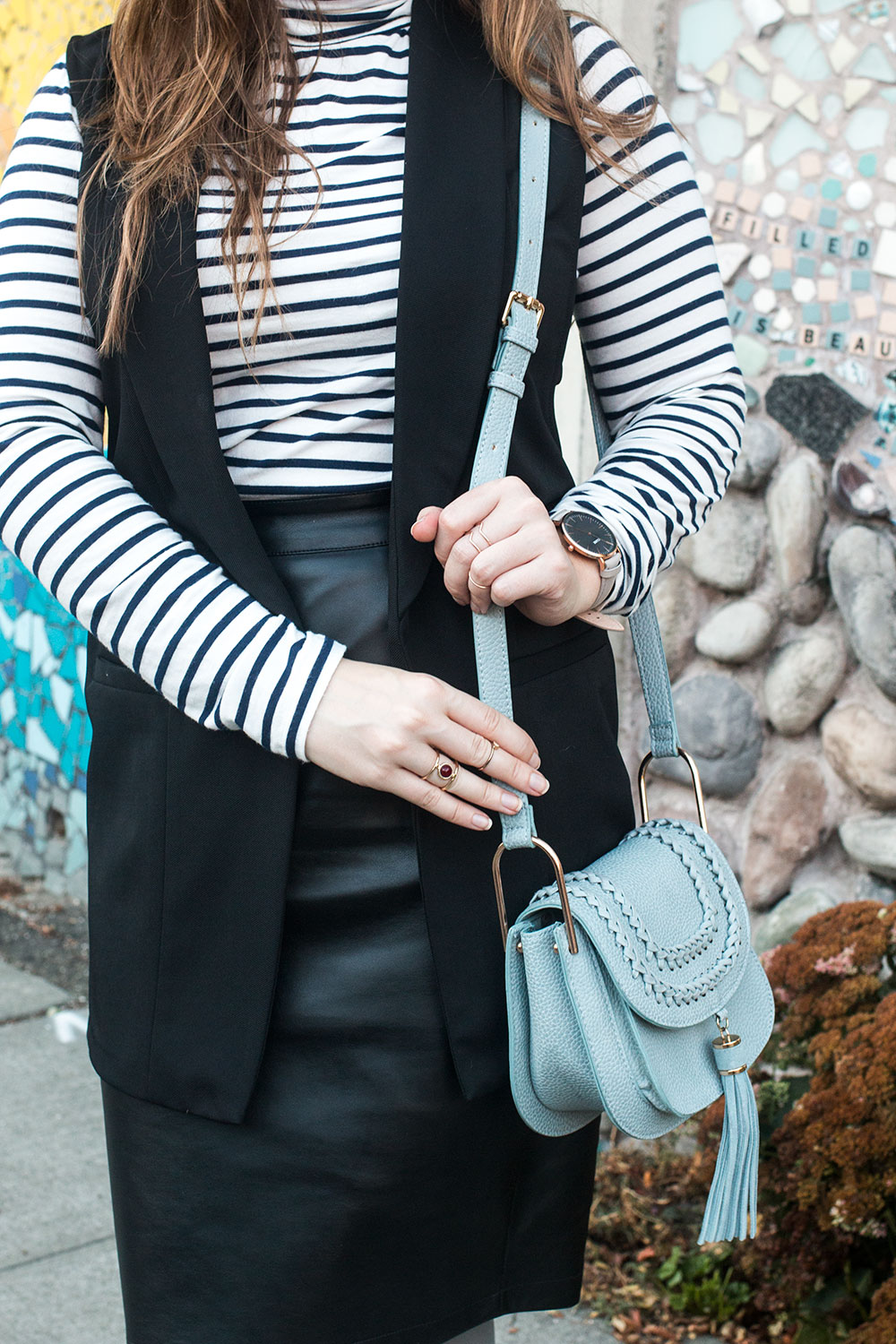 Grey Tights Outfit with Striped Turtleneck and Leather Skirt // Hello Rigby Seattle Fashion Blog
