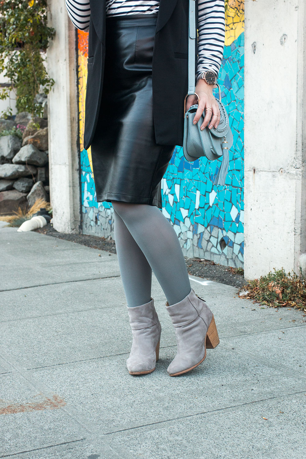 Grey Tights Outfit with Ankle Boots and Leather Skirt // Hello Rigby Seattle Fashion Blog