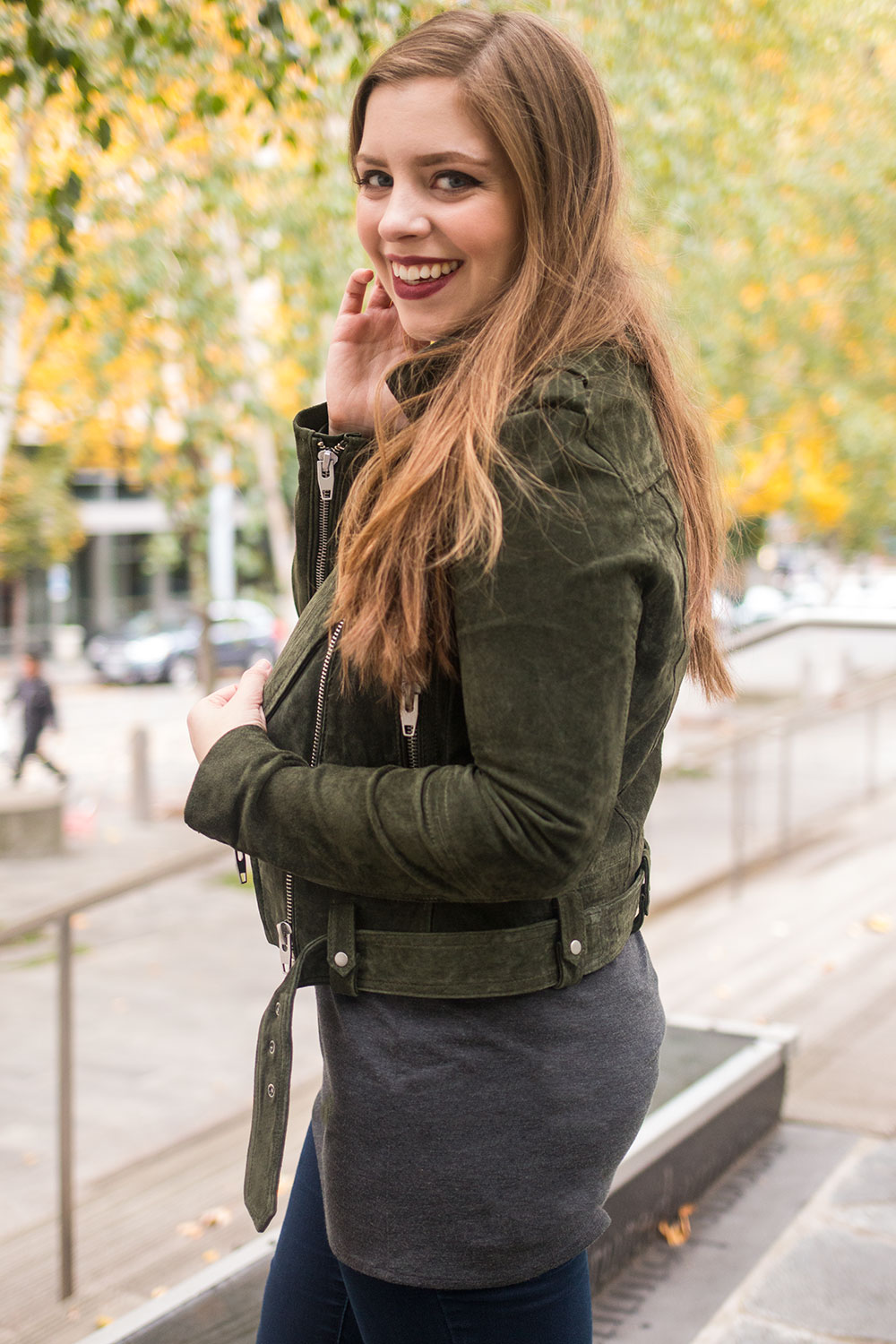 BLANK NYC Morning Suede Jacket in Olive Juice // Hello Rigby Seattle Fashion Blog