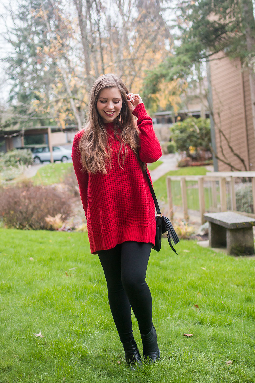 Stitch Fix December 2016: Market and Spruce Holley Waffle Texture Slit Back Pullover // Hello Rigby Seattle Fashion Blog