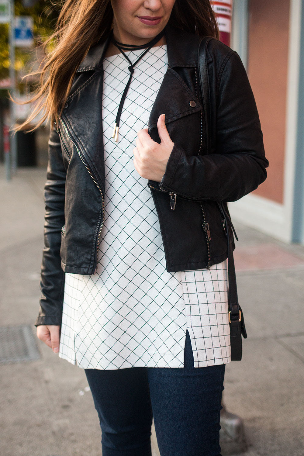 Moto Jacket with Checkered Top Outfit // Hello Rigby Seattle Fashion Blog