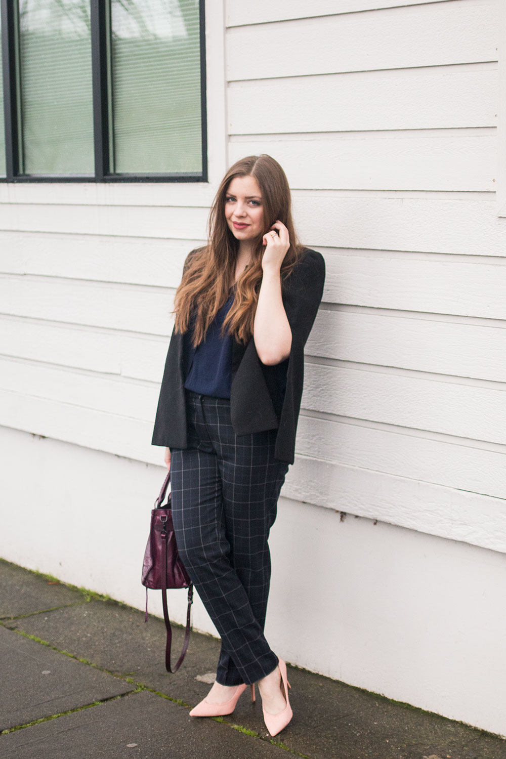f201432e8b7 Winter Work Outfits    Hello Rigby Seattle Fashion Blog Mixing Black and  Navy is A-Okay