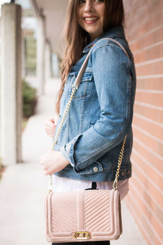 Rebecca Minkoff Love Crossbody Bag in Mushroom // Hello Rigby Seattle Fashion Blog