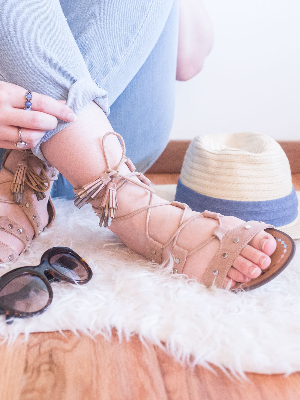 Stitch Fix June 2017: Report Footwear Laurel Faux Leather Gladiator Sandals // Hello Rigby Seattle Fashion Blog